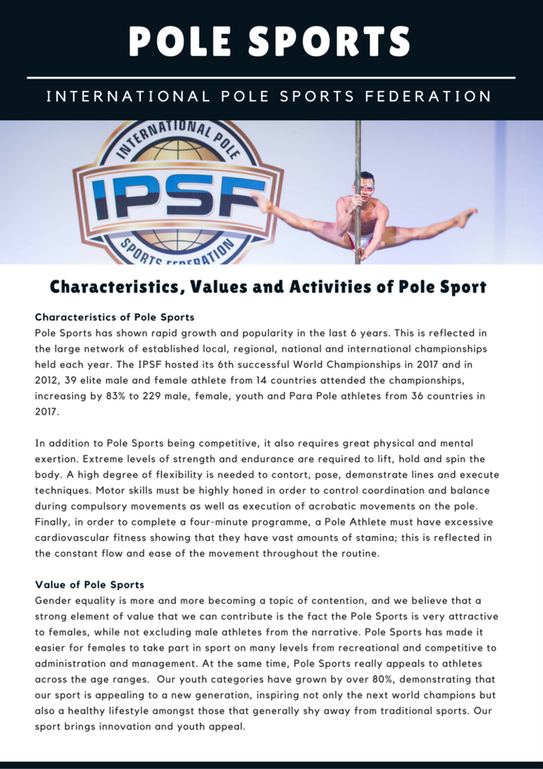 Characteristics, Values and Activities of Pole Sports - GAISF